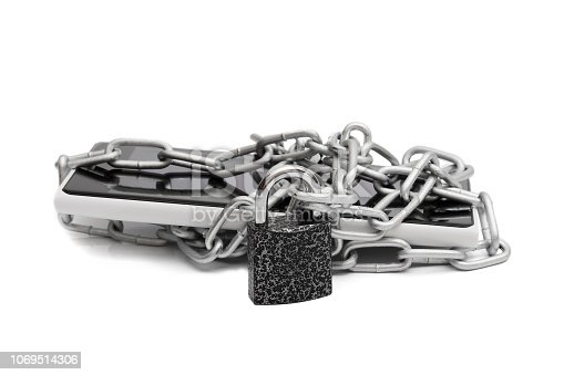 937370192 istock photo smartphone wrapped with chain and locked on padlock, isolated on white background 1069514306