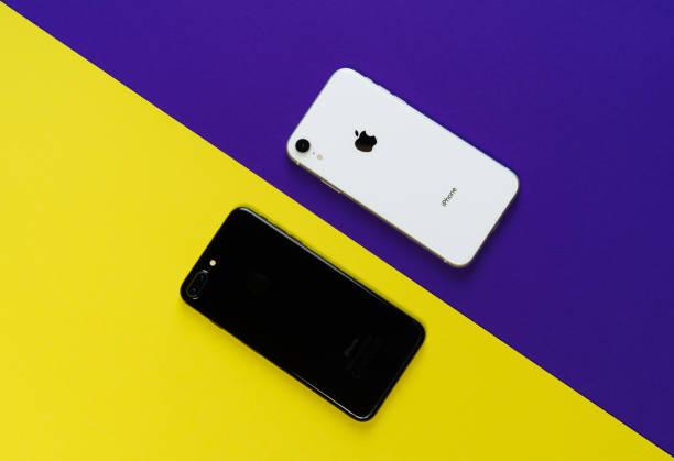 Smartphone Yellow Purple Background Top Flat Lay stock photo