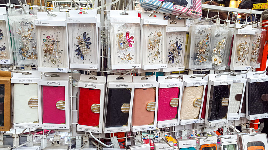 Smartphones covers on a market in Seoul, South Korea.