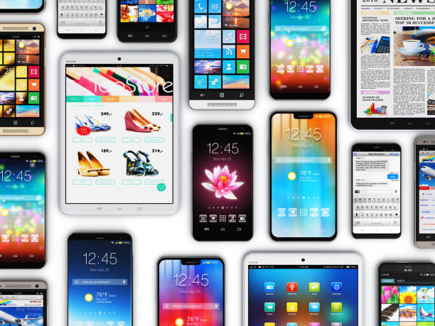 Smartphones, mobile phones and tablet computers stock photo