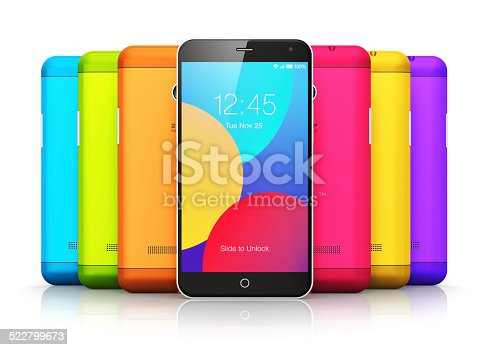 istock Smartphones with color back covers 522799673