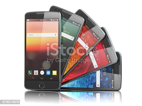 istock Smartphones with different screens isolated on white. Mobile com 616014878
