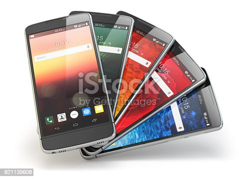 istock Smartphones with different screens isolated on white. Mobile com 621139608