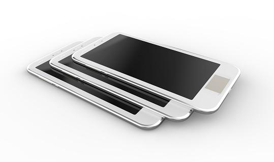 1044507110 istock photo Smartphones,white and uniformly stacked