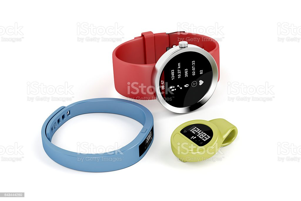 Smartwatch and activity trackers stock photo