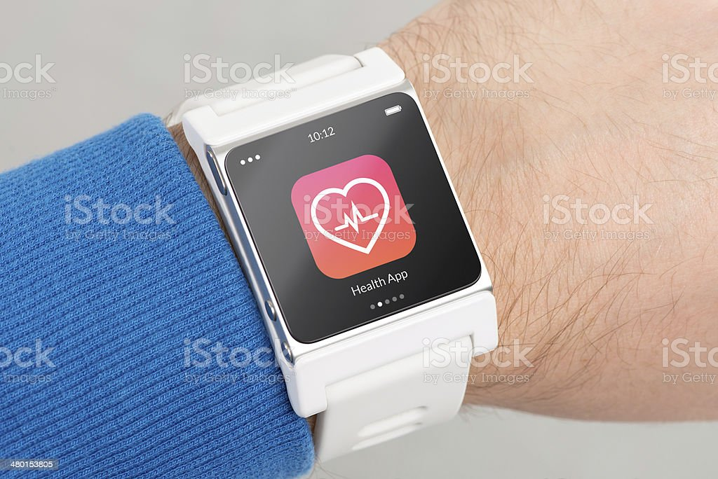 Smartwatch on man's wrist displays Health App icon stock photo