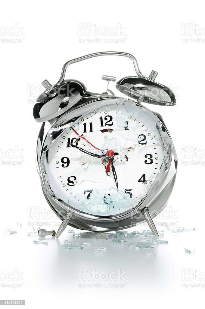 Smashed alarm clock royalty-free stock photo