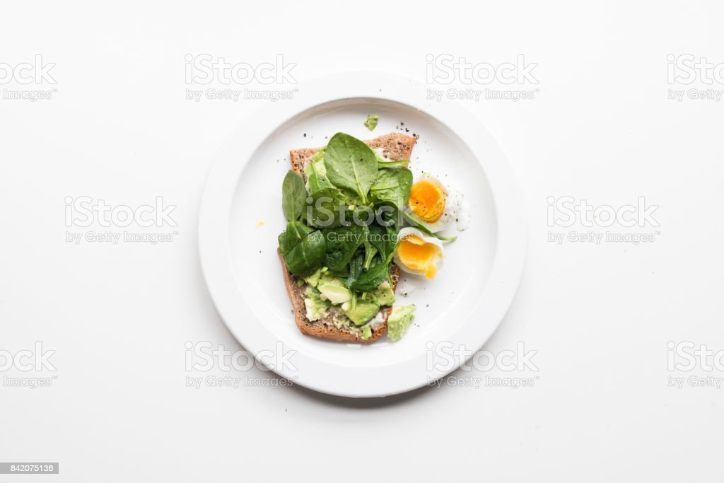 Smashed avocado on toast from above