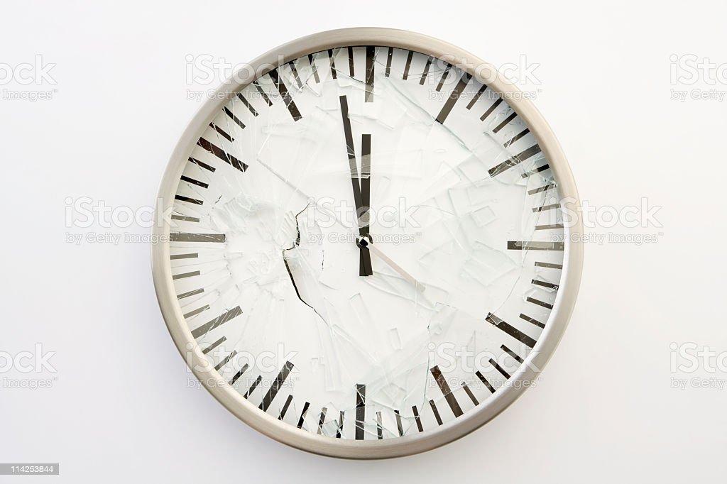 Smashed broken clock face (XXL) stock photo