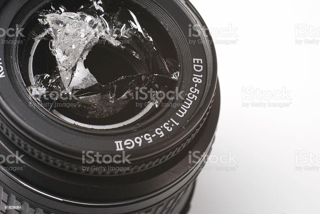 smashed camera lens stock photo