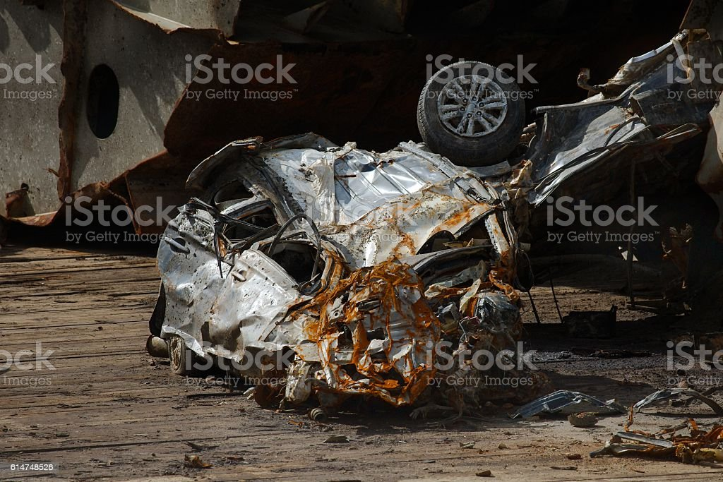 Smashed car stock photo