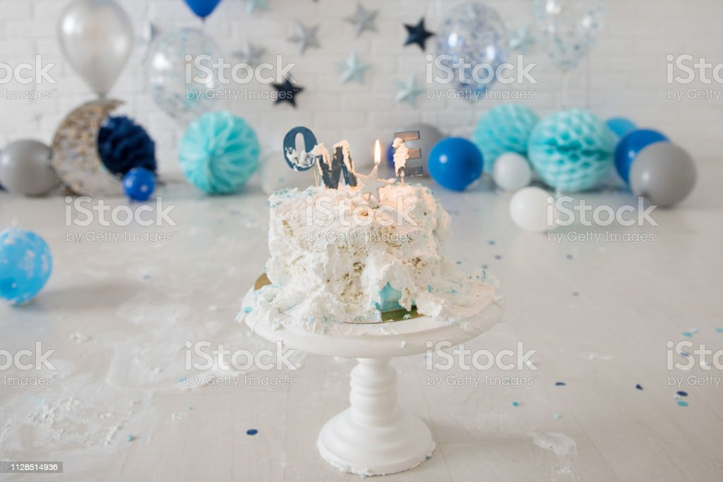 Astounding Smashed First Birthday Cake Smash Cake One Year Blue Colour Funny Birthday Cards Online Overcheapnameinfo