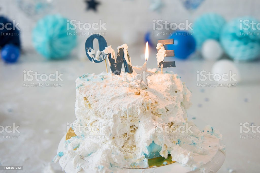 Awesome Smashed First Birthday Cake Smash Cake One Year Blue Funny Birthday Cards Online Overcheapnameinfo
