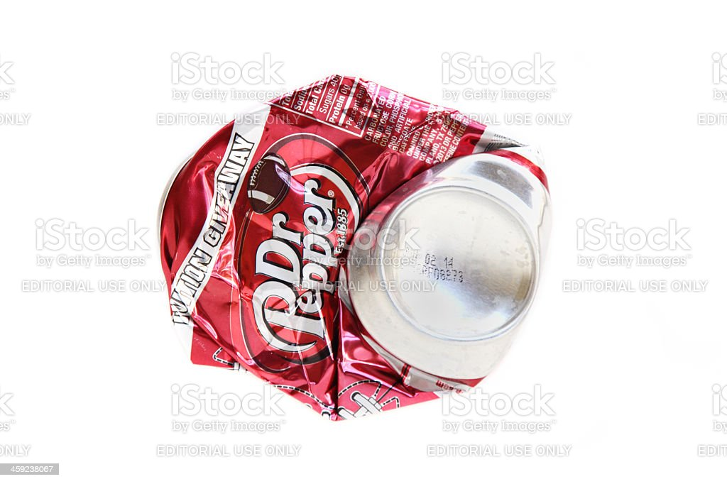 Smashed flat Dr Pepper can stock photo