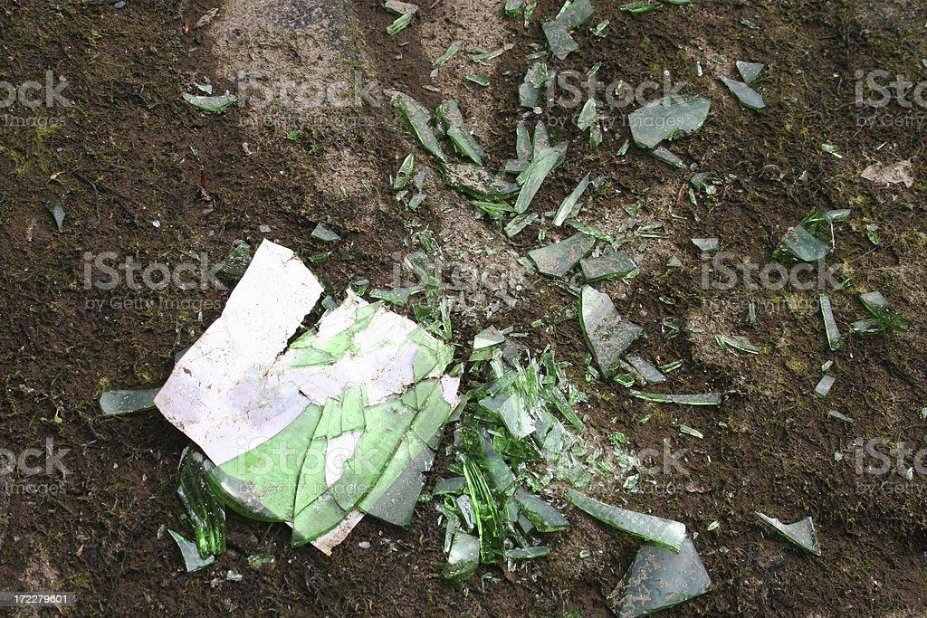 Smashed glass bottle royalty-free stock photo