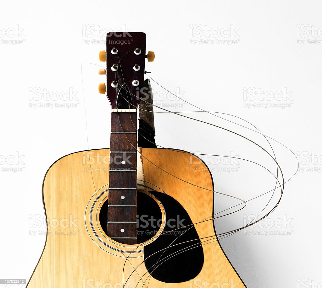 Smashed guitar stock photo