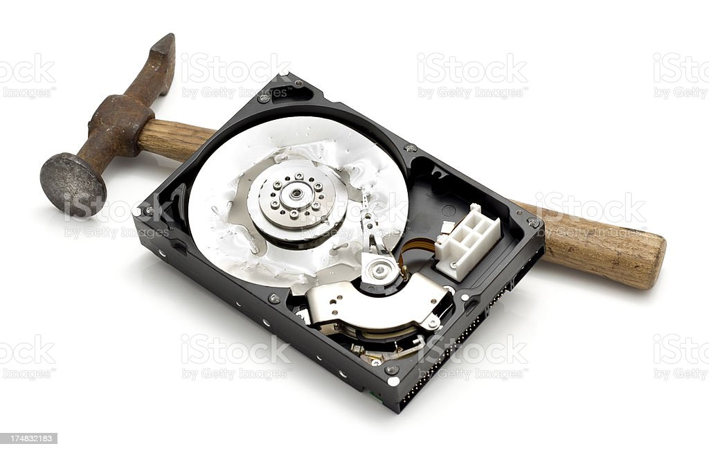 Smashed Hard Drive royalty-free stock photo