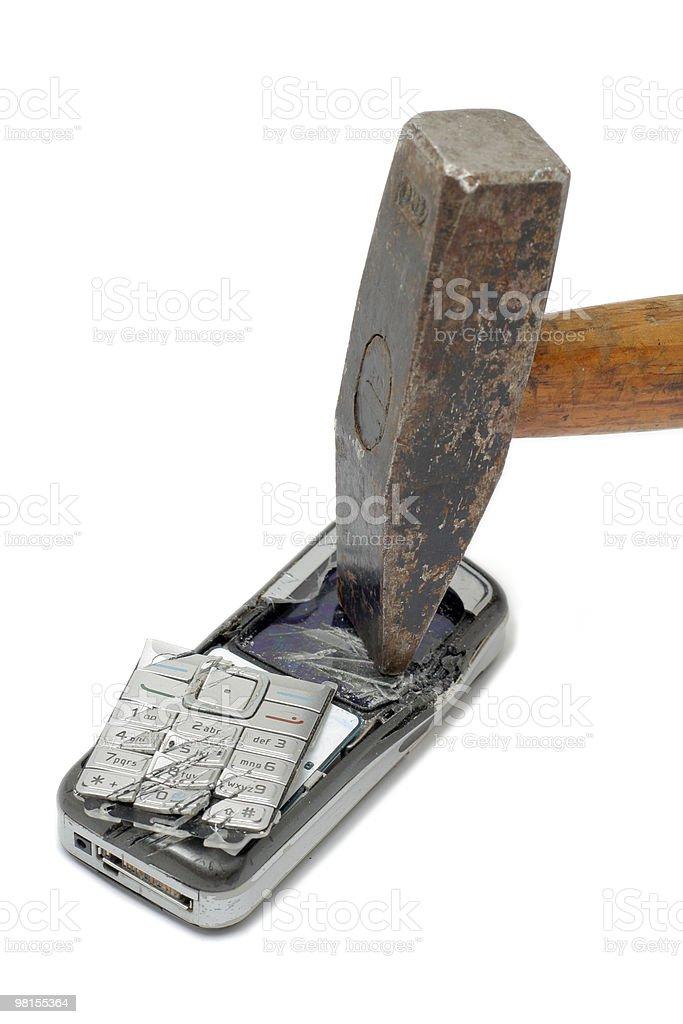 Smashed mobile phone royalty-free stock photo