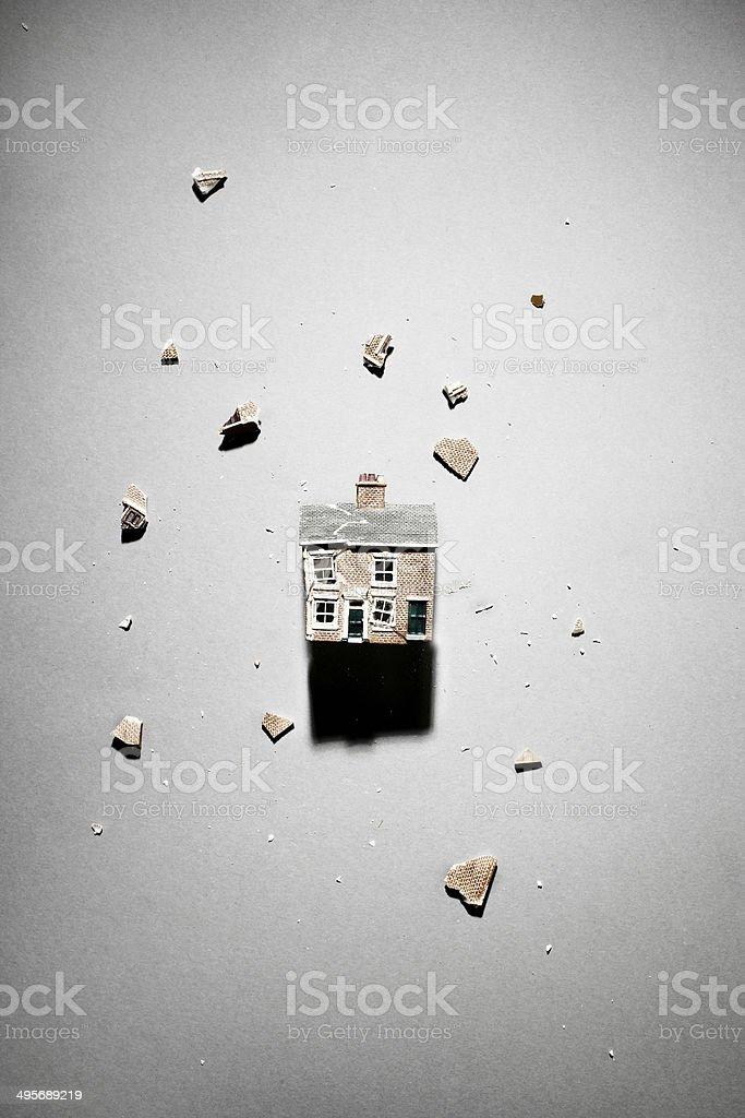 Smashed model house stock photo
