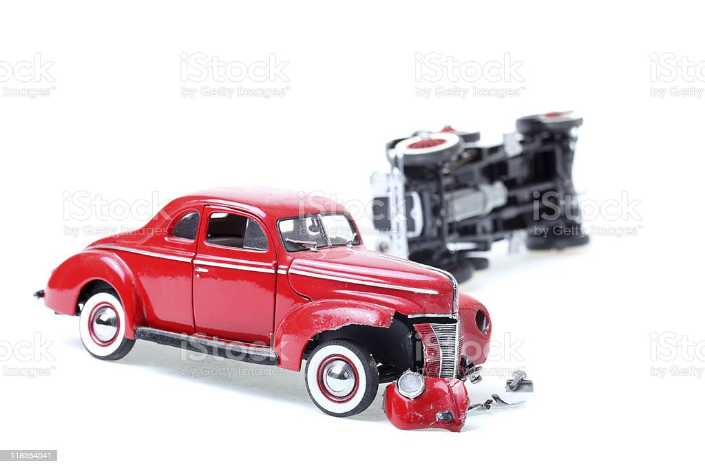 smashed old toy car royalty-free stock photo
