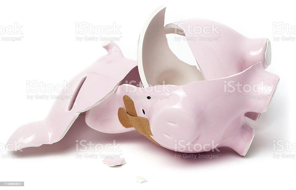 Smashed piggy savings bank stock photo