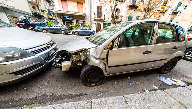 Smashed up car in Palermo stock photo