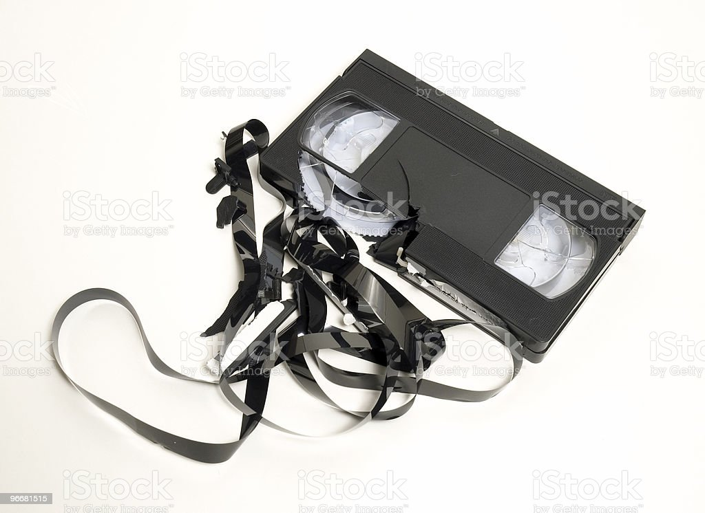 Smashed Video Tape royalty-free stock photo