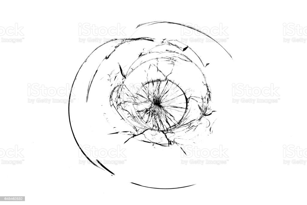 Smashed windscreen of a car, broken glass stock photo