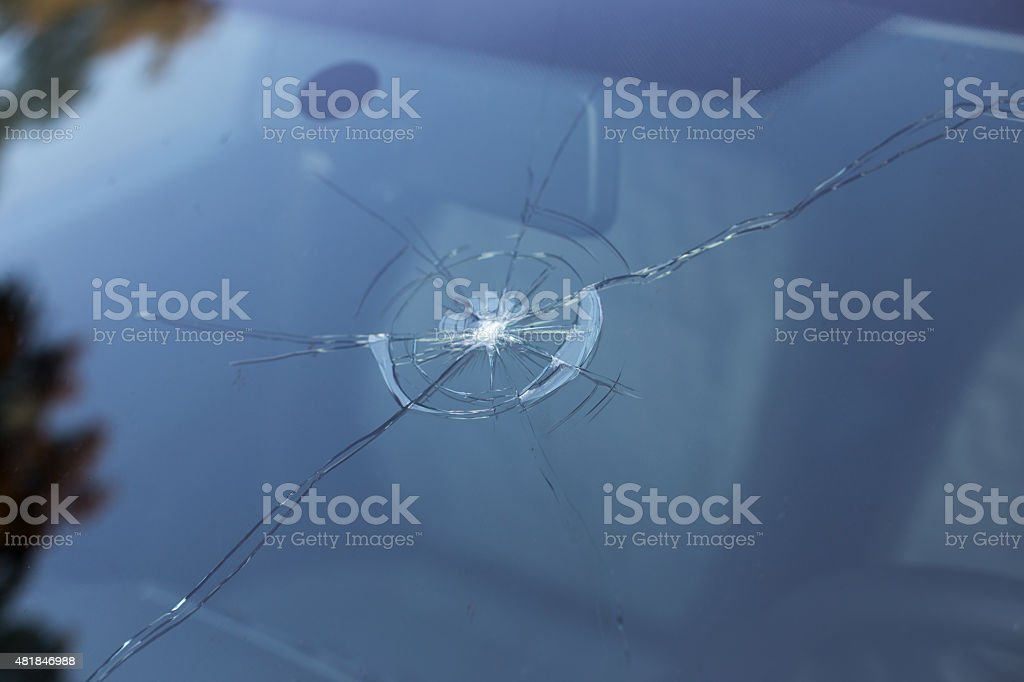 Smashed windscreen stock photo