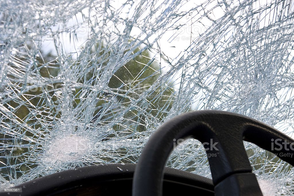 Smashed windshield stock photo