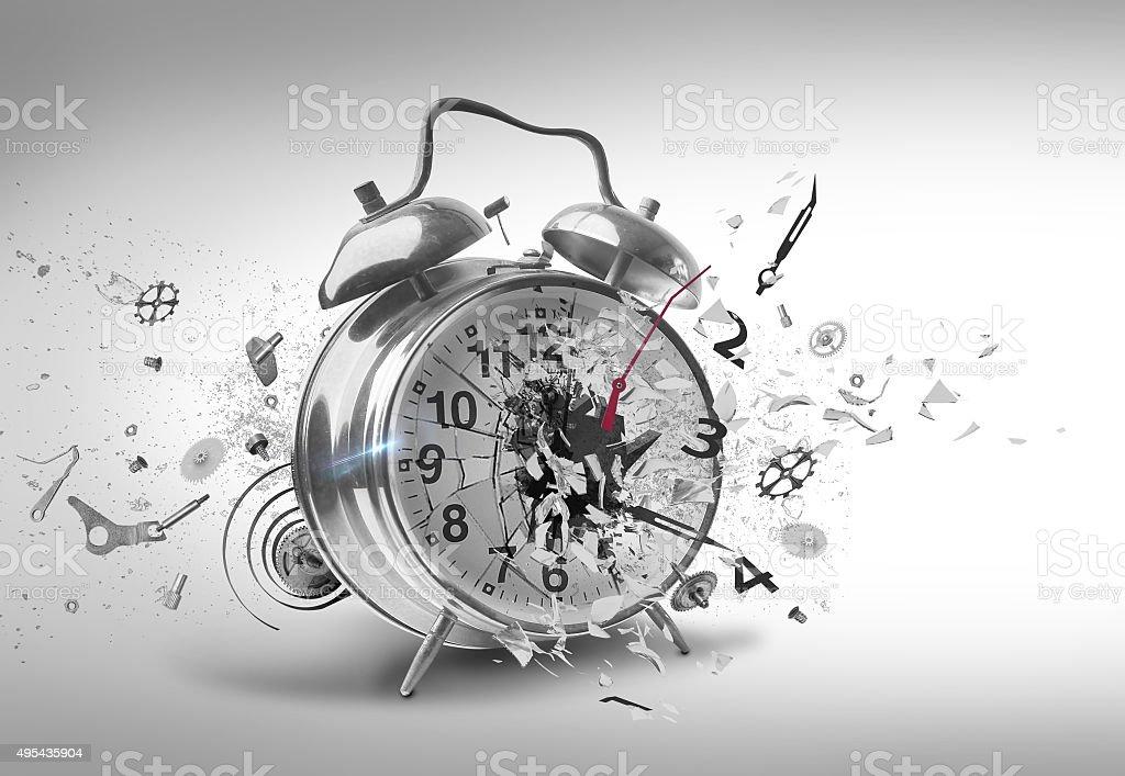 Smashing Alarm clock stock photo