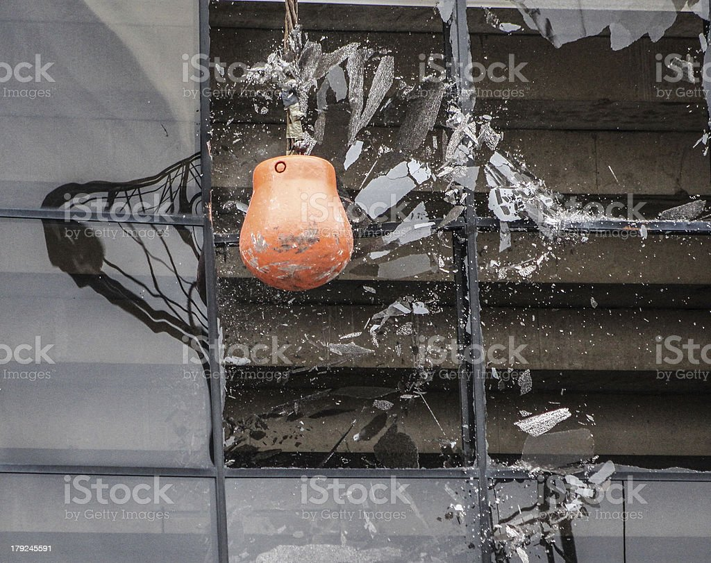 Smashing Windows Wrecking ball destroys windows Breaking Stock Photo