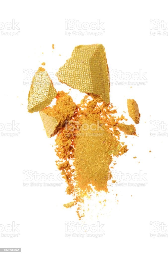 Abstrich der zerkleinerten goldenen Lidschatten Lizenzfreies stock-foto