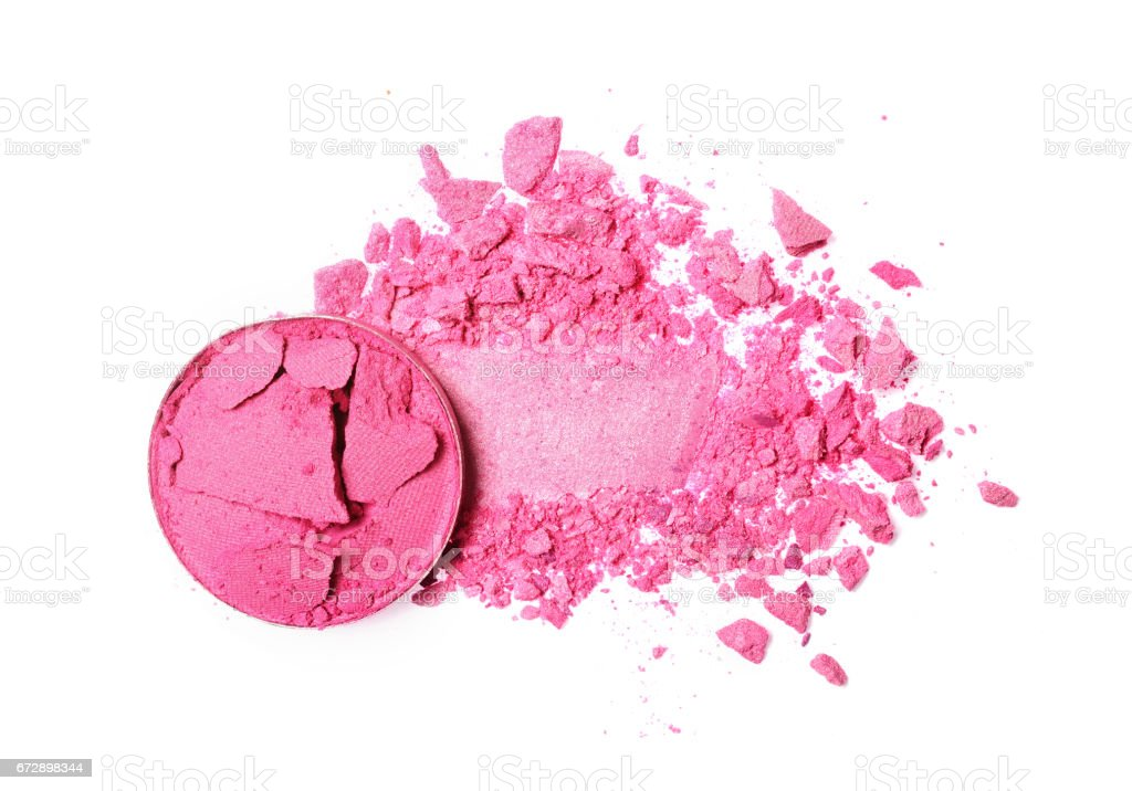 Smear of crushed pink eyeshadow as sample of cosmetic product stock photo