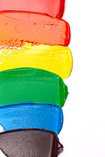 Smears of Rainbow Colored Paint Isolated on a White Background