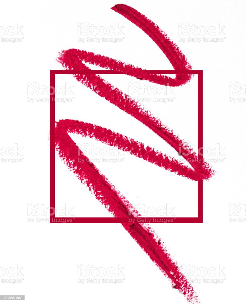 Smears of red lipstick close-up isolated in a pink frame on white background. Make-up, beauty. stock photo