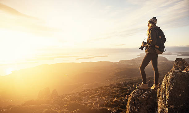 Smell of mountain air renews my soul stock photo
