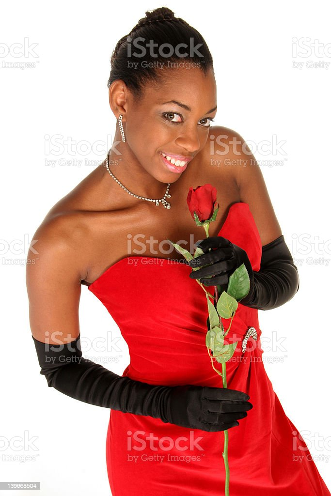 smelling a rose royalty-free stock photo