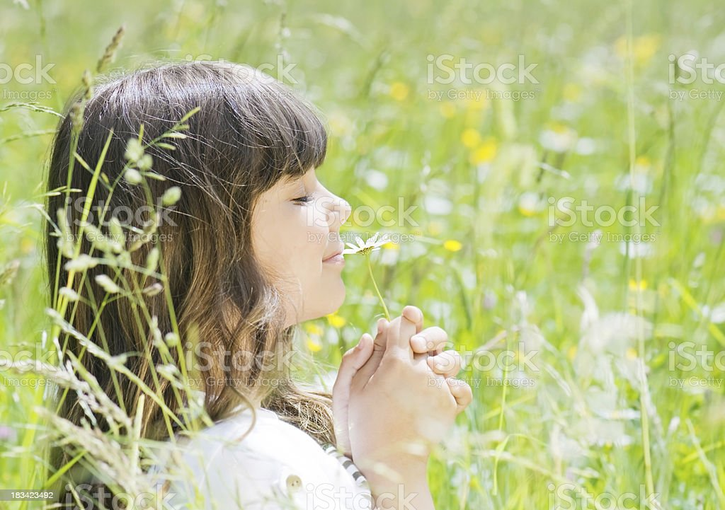 Smelling flowers. royalty-free stock photo