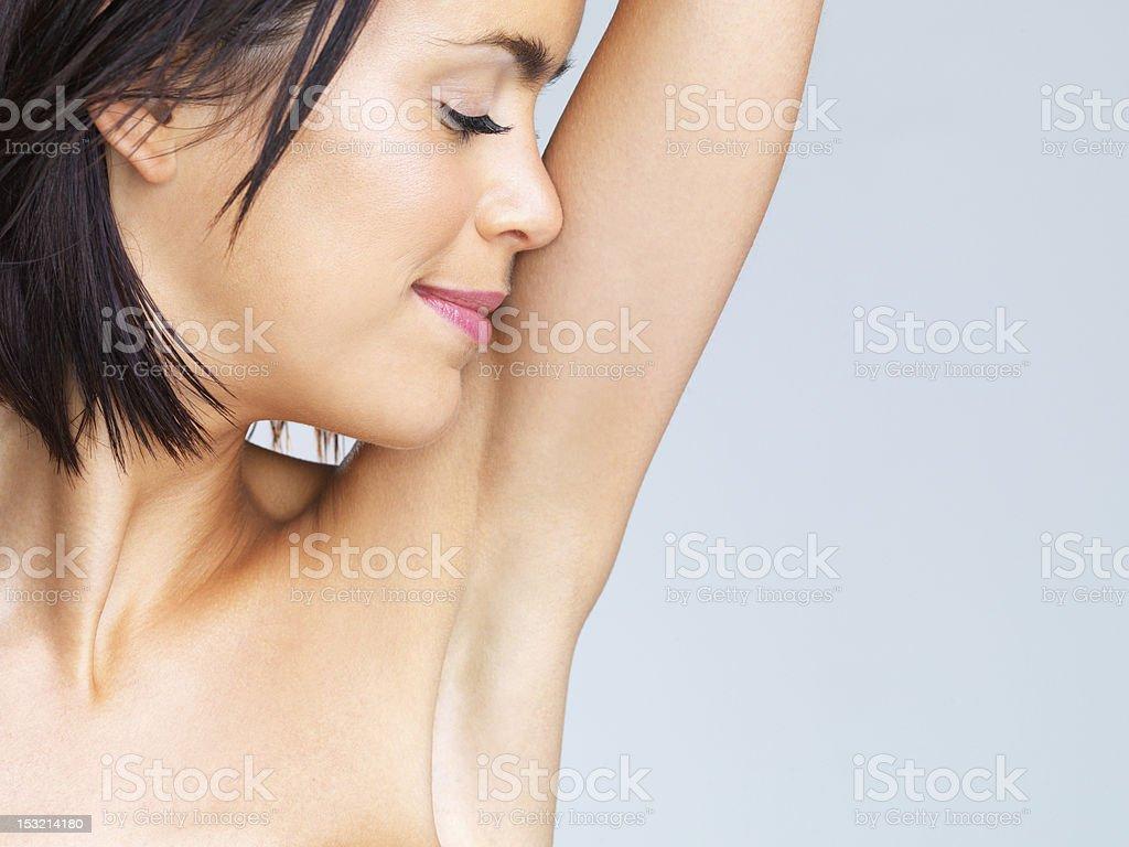 Smelling fresh royalty-free stock photo