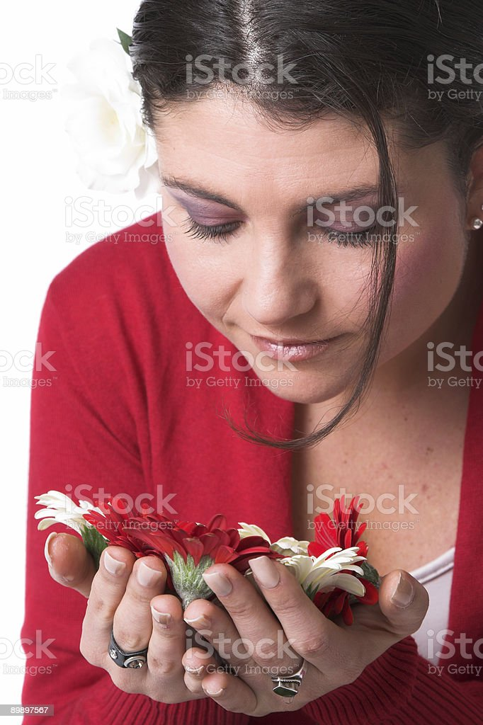 Smelling the flowers royalty-free stock photo