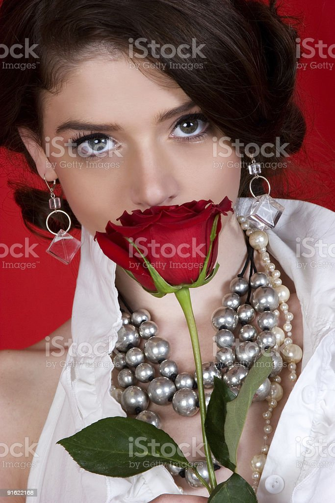 Smelling the rose royalty-free stock photo