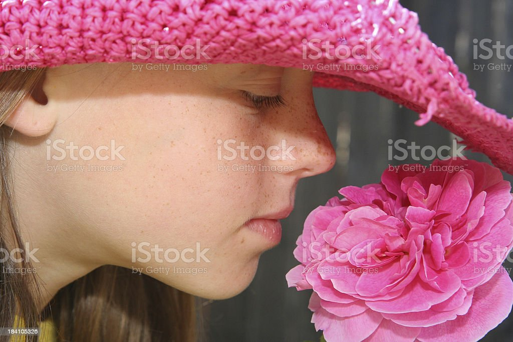 Smelling the Roses royalty-free stock photo