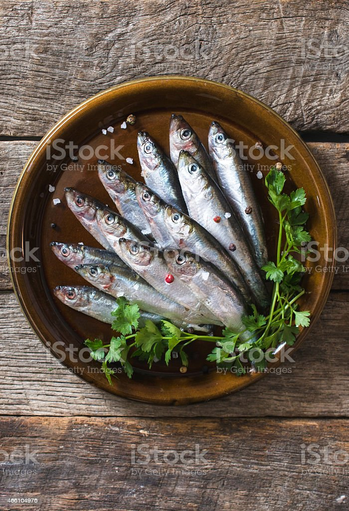 Smelt fishes from above stock photo