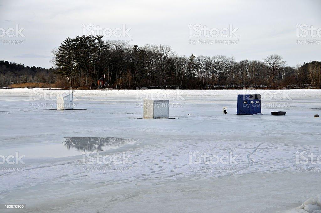 Smelt Ice Fishing Houses stock photo