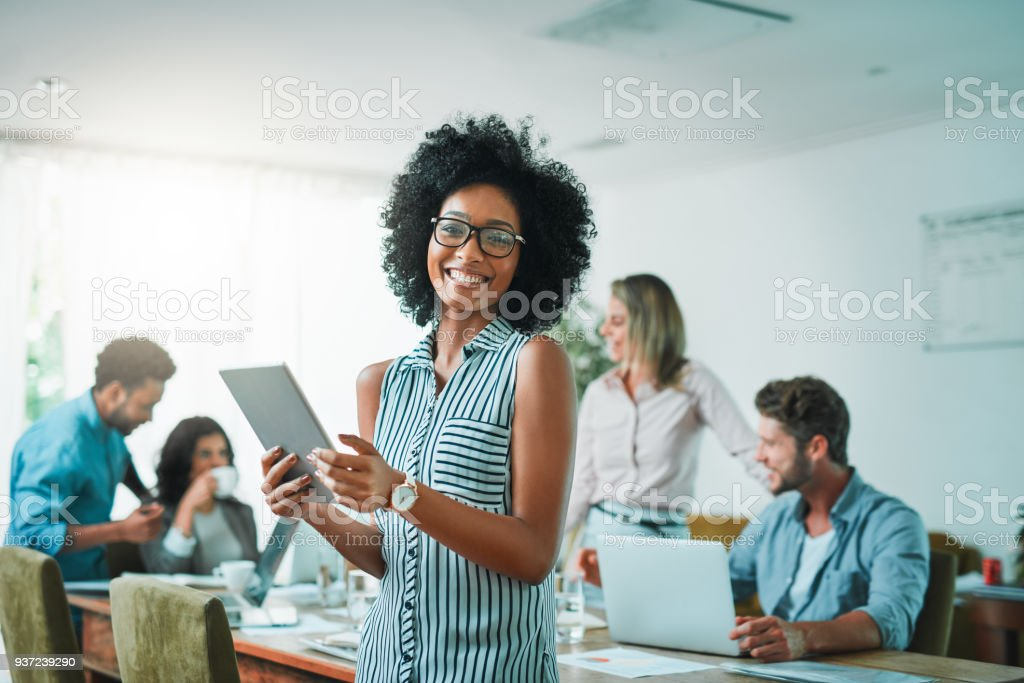 Smile as though you have already achieved success stock photo