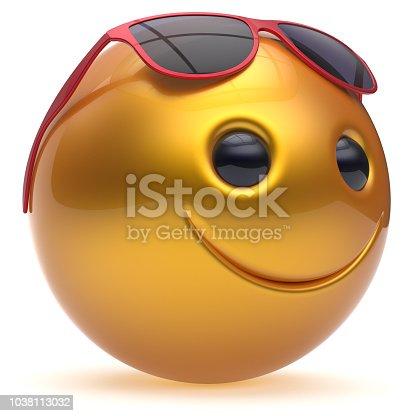 istock Smile face cheerful head ball sphere emoticon cartoon yellow 1038113032