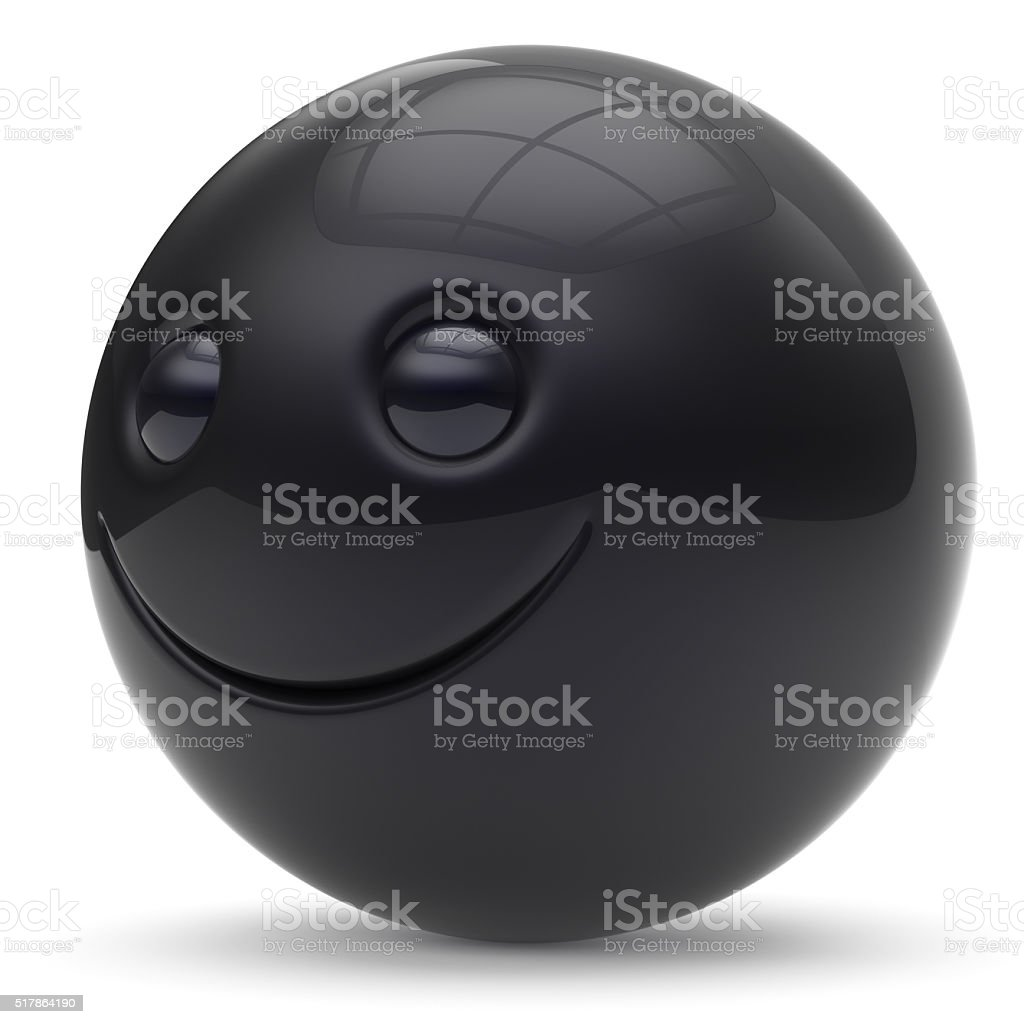 Smile face head ball cheerful sphere emoticon cartoon black stock photo
