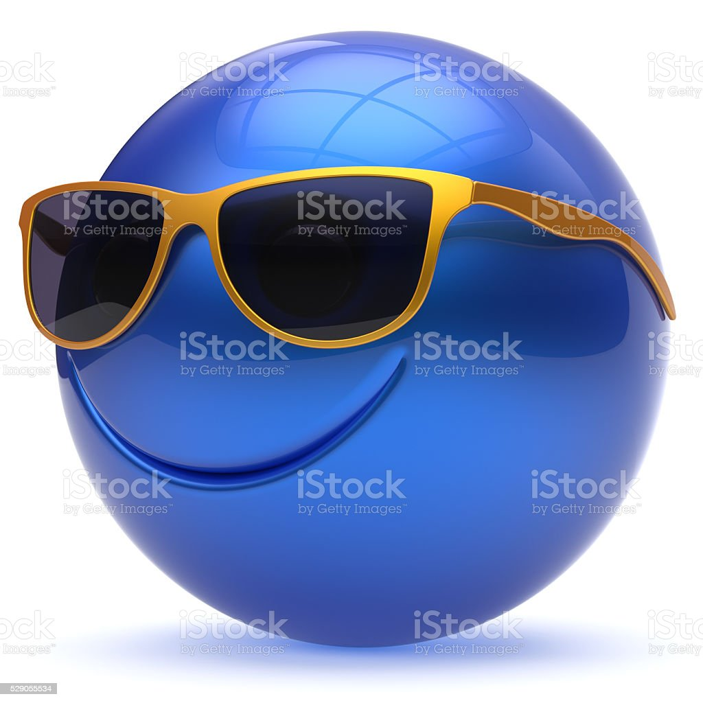 Smile face head ball cheerful sphere emoticon cartoon blue stock photo