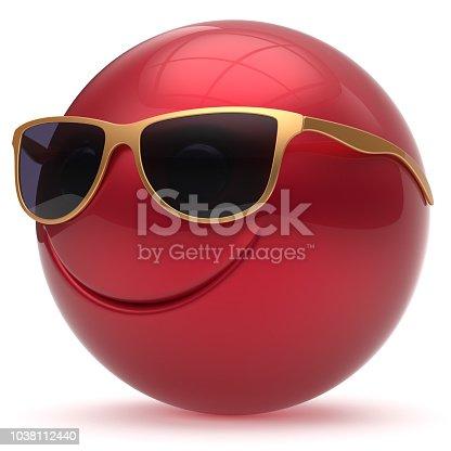istock Smile face head ball sphere emoticon cartoon smiley happy red 1038112440